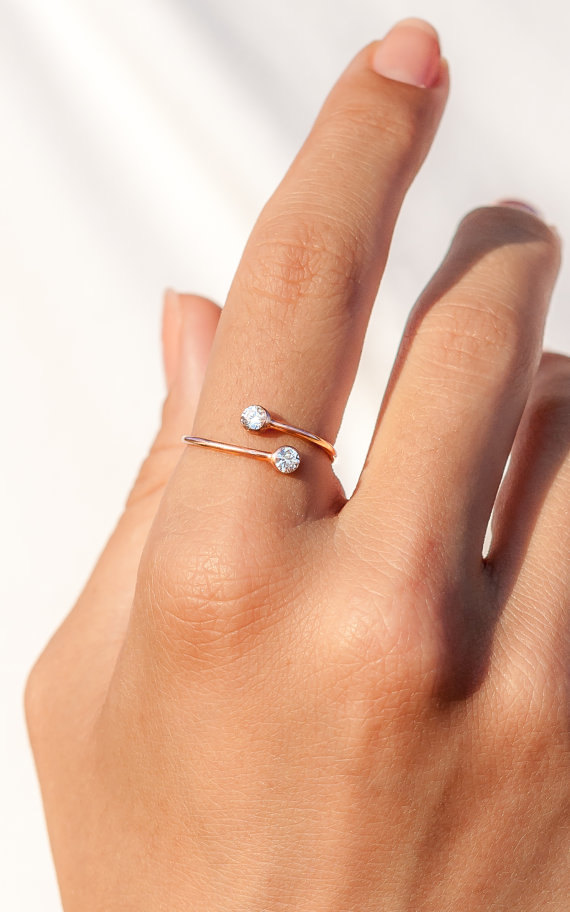 14k Gold Ring Personalized Gift Dual Stone Ring Engagement