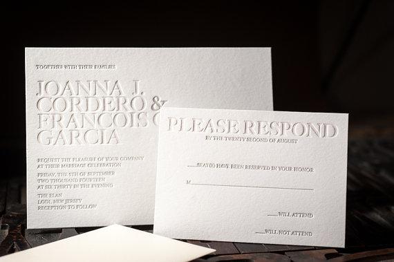 Mariage - Letterpress Wedding Invitation, Letterpress RSVP card, Letterpress Wedding, Letterpress Menu, Letterpress Wedding Program, wishing well