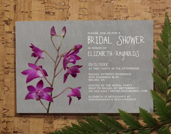 dendrobium orchid bridal invitations, bridal shower invitations, Party invitations