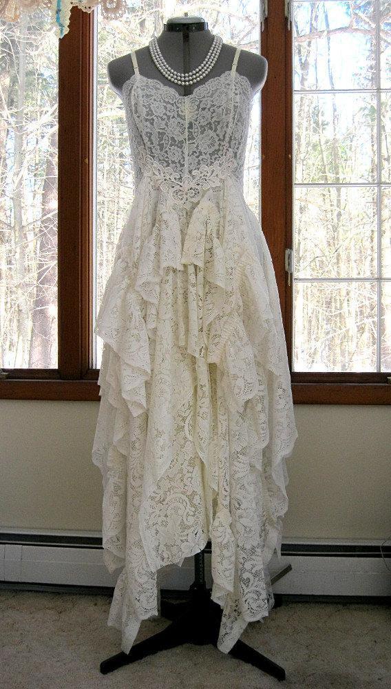 Wedding off white ivory alternative bride tattered boho gypsy hippie