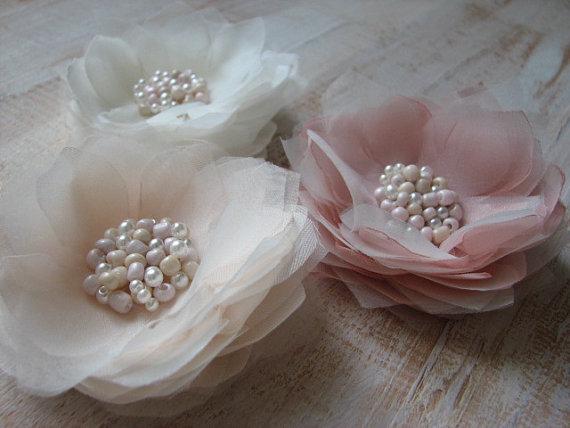 Mariage - Set of 3 hair flower Ivory cream hair flower Ivory champagne hair flower Champagne cream wedding Blush ivory wedding Blush hair flower