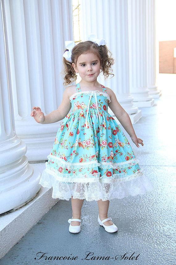 db9427f5 Girls Dress Easter Birthday shabby chic Flower Girl dress tea party blue  birds floral dress lace Twirl Dress Size 12 months to 12 yrs Clara