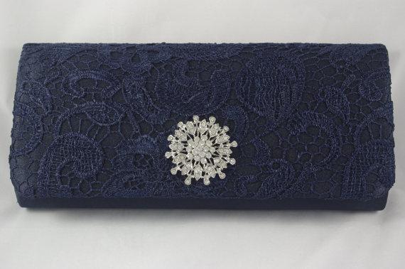 Navy Blue Clutch Lace Wedding Handbag Bridal Crystal Bride S Something Vintage Inspired Purse