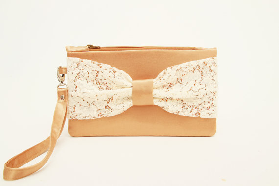 Mariage - Gold clutch with  ivory lace  bow wristelt  lace clutch,bridesmaid gift ,wedding gift ,make up bag,cosmetic bag