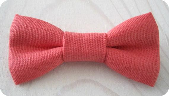زفاف - Coral textured cotton bowtie in Newborn, Infant/Toddler, Youth sizing - groomsmen, ringbearers, birthday, photo prop father son sibling sets