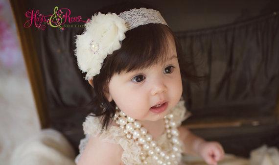 a6fd210eae10 Ivory Baby Headband.Baby Girl Headbands..Baby Headbands.Flower Girl  Headband.Wedding.Newborn Headbands..Baby Bow Headband.Christening