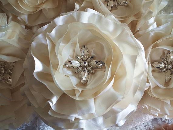Wedding - Ivory satin Chiffon rosette, wedding decors, wedding chair sash, table bouquet