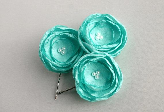 زفاف - Mint Flower Hair Accessories - Green Bridal Hair Accessory - Mint Green Flowers For Hair - Wedding Hair Piece
