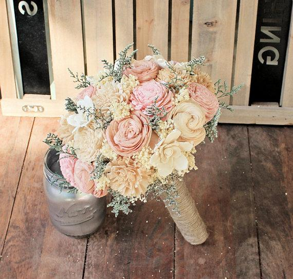 Свадьба - Handmade Alternative Wedding Bouquet - Ivory Blush Nude Bridal Bridesmaid Bouquet, Sola Flower, Natural Bouquet, Keepsake Bouquet