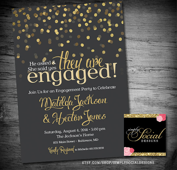 Glitter Glam Confetti Engagement Party Invitation With Gold GREY BACKGROUND #2243497 - Weddbook