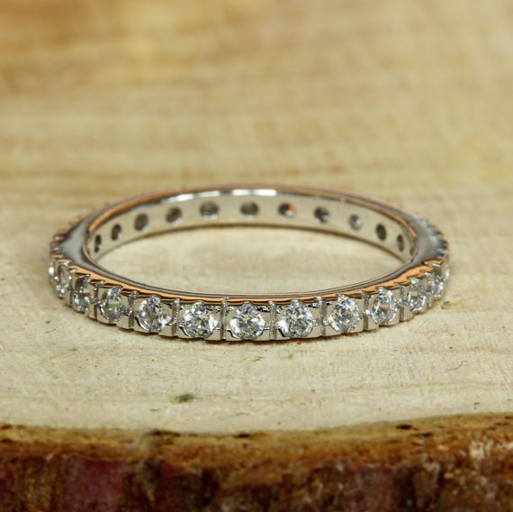 Hochzeit - 2mm wide Full Eternity / stacking white gold ring with Lab diamonds - wedding ring - engagement ring
