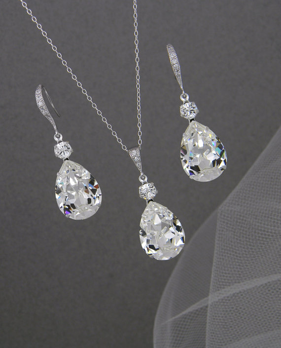 Crystal Bridal Set Bridesmaids Jewelry Set Crystal Pendant And