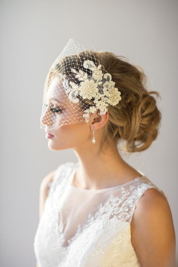 Mariage - Birdcage Veil, Wedding Veil, Bridal Veil, Lace Veil