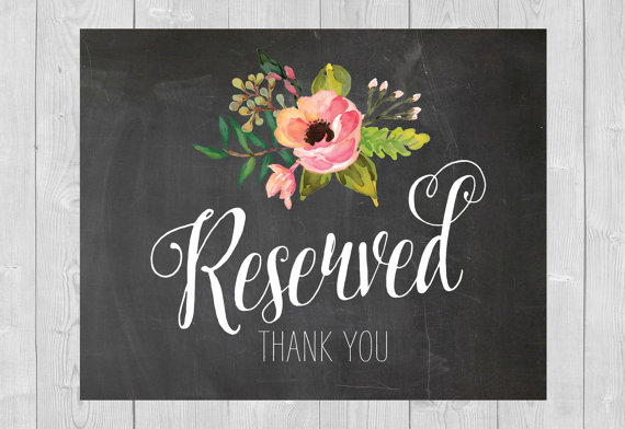 printable reserved sign chalkboard floral flowers pink watercolor