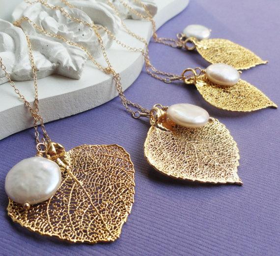 زفاف - Bridal jewelry, Gift set of SIX Gold leaf & pearl necklaces, real aspen leaf lariats, Bridesmaid gifts, Gold filled chain, autumn wedding