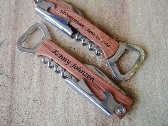 Personalized Bottle Opener, Engraved Corkscrew, Engraved Bottle Opener, Custom Opener: Groomsmen, Bridesmaid, Stocking Stuffer, Fathers Day