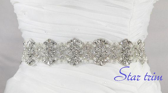 زفاف - SALE JENNY Wedding Belt, Bridal Belt, Sash Belt, Crystal Rhinestones & Pearls