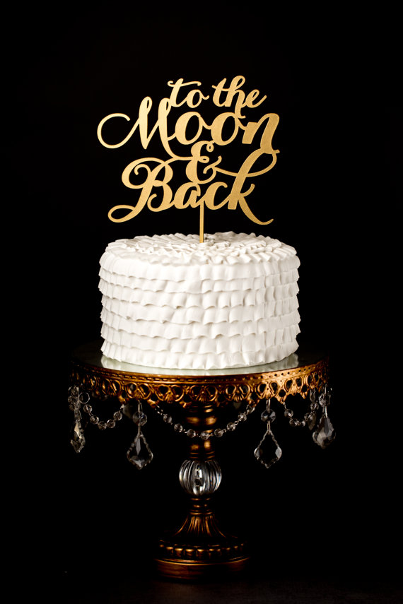 زفاف - Wedding Cake Topper - To the Moon and Back - Gold
