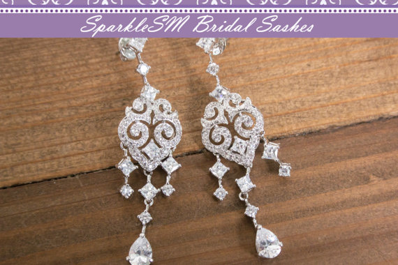 Hochzeit - Rhinestone Bridal Earrings, Crystal Chandelier Drop Wedding Earrings, Post Earrings, Bridal Jewelry, Bridesmaids Earrings, SparkleSM, Harper