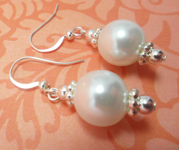 Mariage - Bridesmaid Pearl Earrings, Drop Classic White, Silver French Hook Earrings, great gift idea for Wedding party, bridal, Bride,  jewelry store