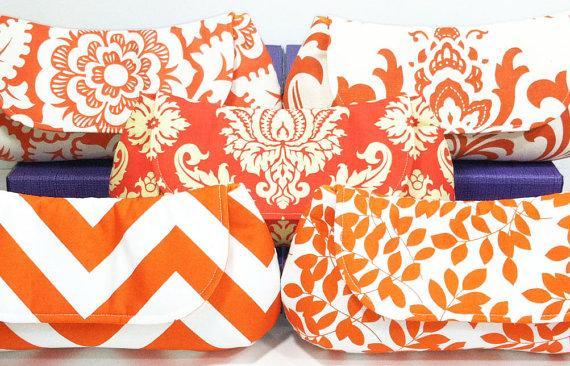 Hochzeit - Bridesmaid Clutches Wedding Clutch Choose Your Fabric Orange Set of 6