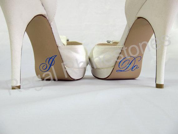 زفاف - Hologram I Do Shoe Stickers - ROYAL BLUE Glitter I Do Applique for Shoes - Wedding Shoe Stickers - I Do Decals