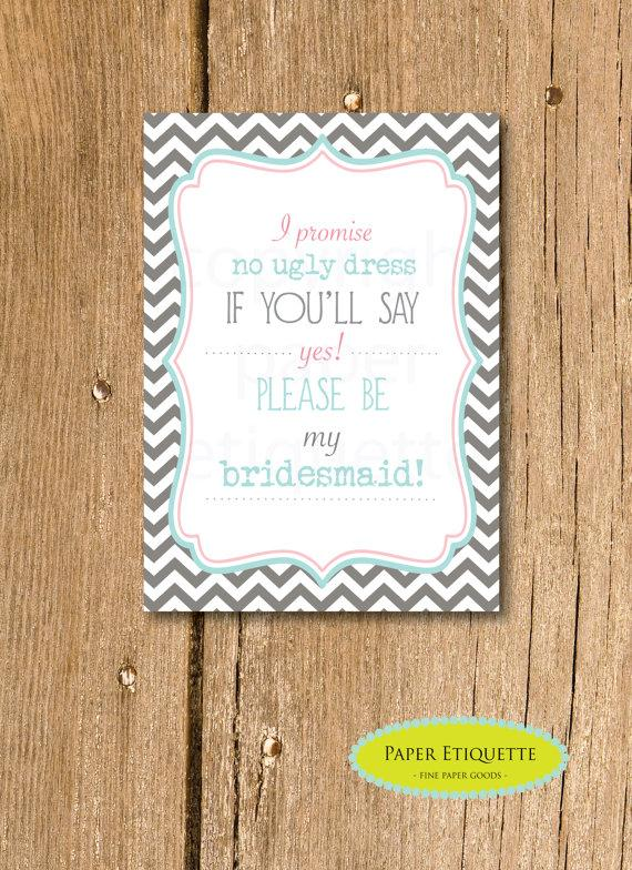 Mariage - INSTANT UPLOAD  - Will You Be My Bridesmaid Invite - Turquoise and Gray Chevron - Print Your Own