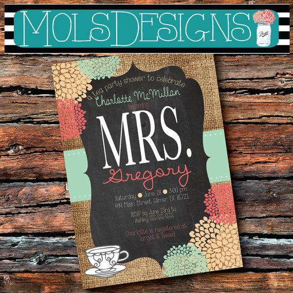 Mariage - Any Color Mrs. Bridal Tea MASON JAR Vintage BURLAP Chalkboard Pink Mint Peach Cream Floral Wedding Brunch Tea Party Baby Shower Invitation