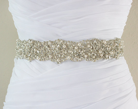 Mariage - Ready To Ship - JANELLE - Swarovski Pearls And Rhinestones Encrusted Bridal Sash, Wedding Beaded Belt, Crystal Belt