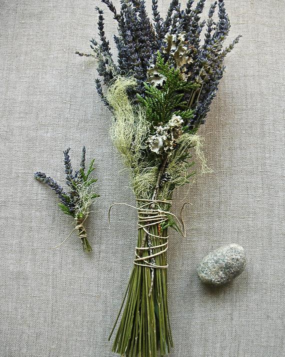 Hochzeit - Natural Woodland Wedding Bouquet and Grooms Boutonniere of French Lavender, Cedar, Lichens and Moss Tied with Natural Hemp Twine