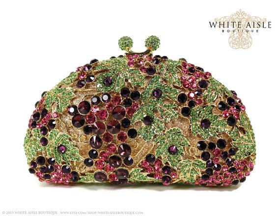 Wedding - Grapevine Crystal Clutch, Purple Bridal Clutch, Silver Minaudiere, Wedding Purse, Evening Bag, Luxury Clutch, Rhinestone Clutch