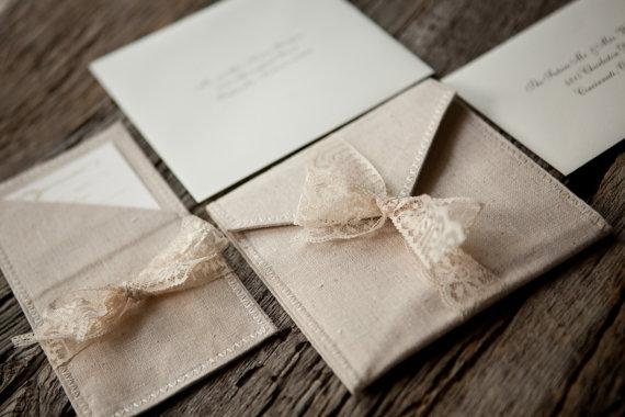 زفاف - Linen and lace pocket fold wedding invitations