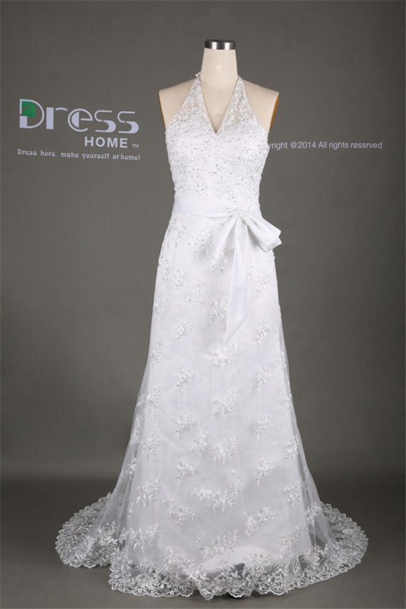 Elegant White Halter Sash Belt Lace Long Wedding Dress/Beach Bridal ...
