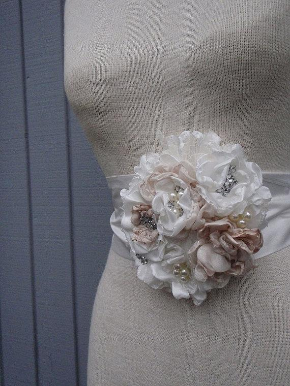 Mariage - READY TO SHIP wedding  Bridal Sash With   Unique Design Flower off white and  champange color