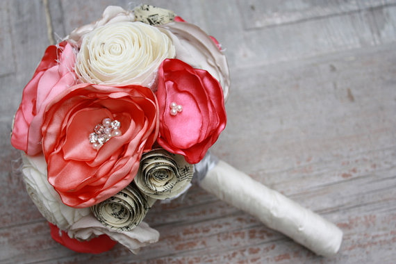 """Hochzeit - Coral Wedding bouquet, 4"""" Custom Fabric flower and vintage sheet music bouquet, coral, peach and cream with burlap and sola wood bouquet"""
