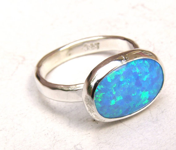 Mariage - Engagement Ring ,Cocktail, Handmade statement ring - Blue opal Gemstone silver ring  - Recycled 925 Sterling silver ring - Made to order