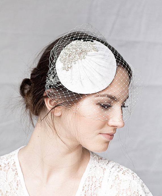 Mariage - Bridal Millinery Hat with bandeau veil, Bridal Rhinestone Headpiece