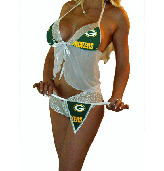 Hochzeit - NFL Lingerie Green Bay Packers Sexy White Cami Top and Lace Booty Shorts Set Plus FREE Matching G-String Thong Panty CUSTOM Sizing