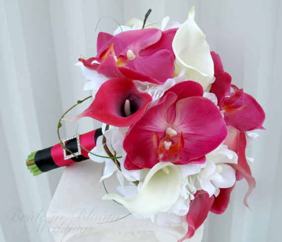Mariage - Brides bouquet Calla lily orchid Wedding bouquet white pink real touch Bridal bouquet