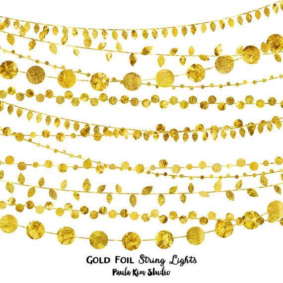 زفاف - 75% OFF SALE Gold Foil String Lights Clip Art, Digital Instant Download, Wedding Invitation Clipart, Commercial Use