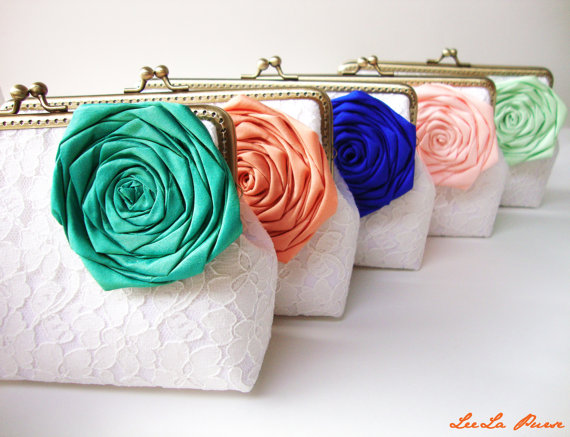 زفاف - Personalized 5 Bridesmaids Clutches with Jade Orange Blue Peach Mint or choose your own initial option / rustic wedding