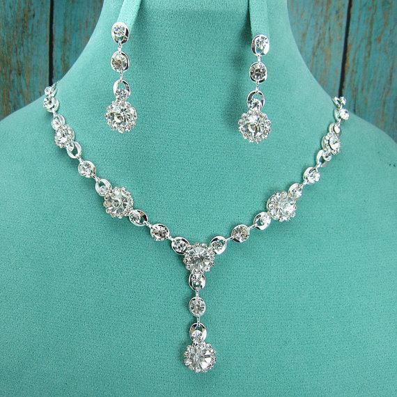 زفاف - Rhinestone Jewelry Set, Crystal Wedding Necklace Set, bridal jewelry set, wedding jewelry set, bridesmaid jewelry set