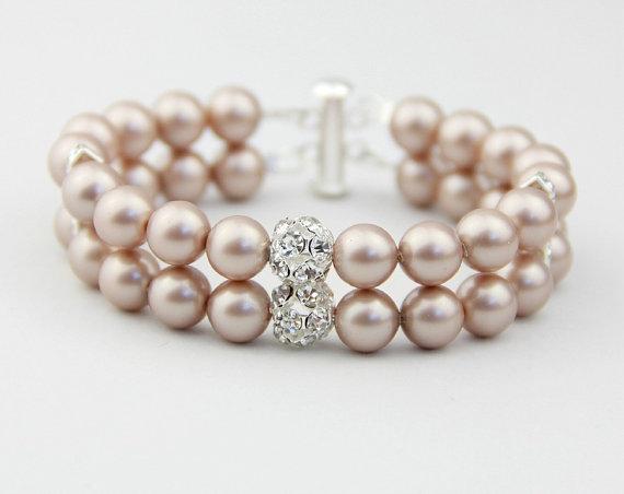 Pearl Bracelet Swarovski Bridal Jewelry Wedding Champagne Double Strand Rhinestone Accented Accessory