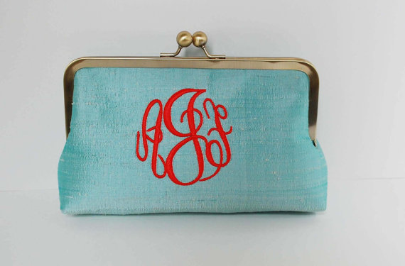 Mariage - Personalized clutch,bridesmaid clutch, monogrammed clutch , wedding clutch,personalized gifts