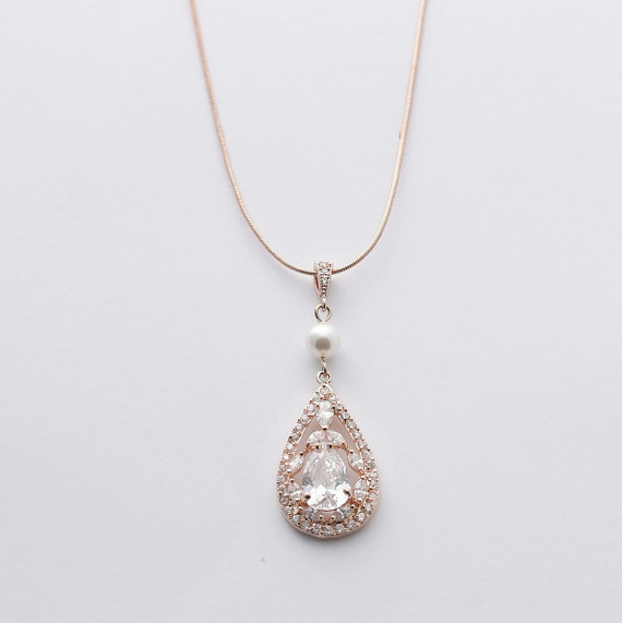 Rose Gold Bridal Necklace Bridal Jewelry With Luxury Large