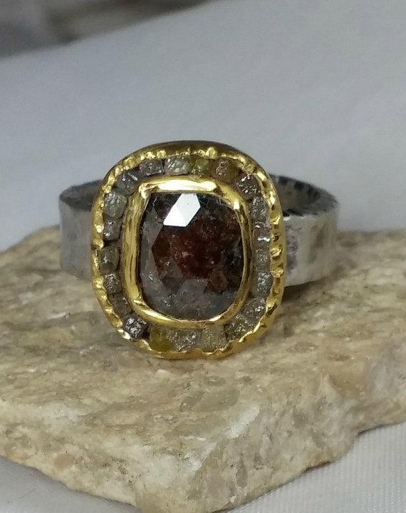 Mariage - Rose Cut diamond Ring, Engagement ring,Gemstone Ring,  raw diamond and 22 kt yellow gold ring , gold ring, diamond ring,