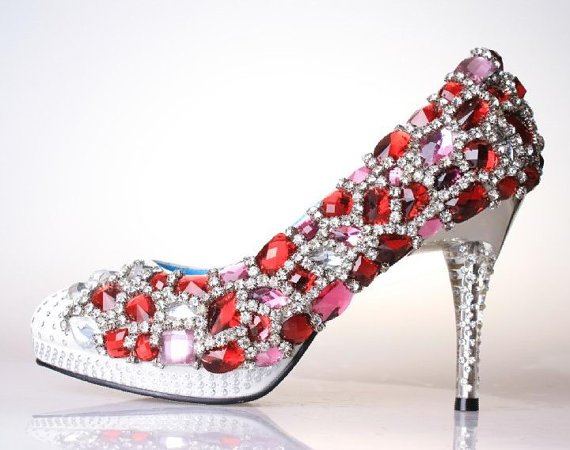 Wedding - Handmade red crystal wedding shoes , party shoes prom shoes crystal pump