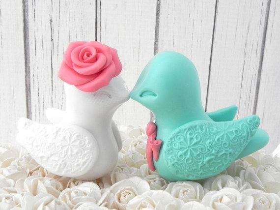 زفاف - Lovebird Wedding Cake Topper, Coral, Mint, and White,  Bride and Groom Keepsake