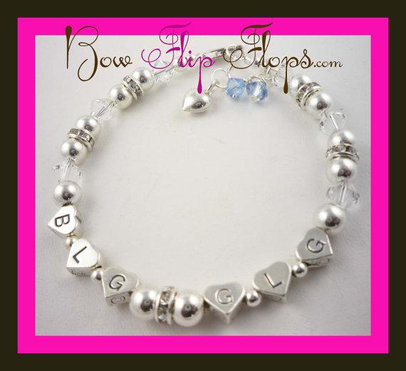 Mariage - Personalized Bridal Bracelet Initials Wedding New Monogram Jewelry crystal Custom Ivory White Swarovski,sterling silver cream,  beach