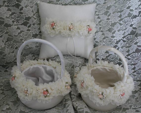 Mariage - 2 Ivory or White  Flower Girl Baskets 1 Ring Bearer Pillow/ Shabby Chic Trim Delicate Ruffled Flower Pearls Satin Rosebud-CUSTOM TRIM COLORS